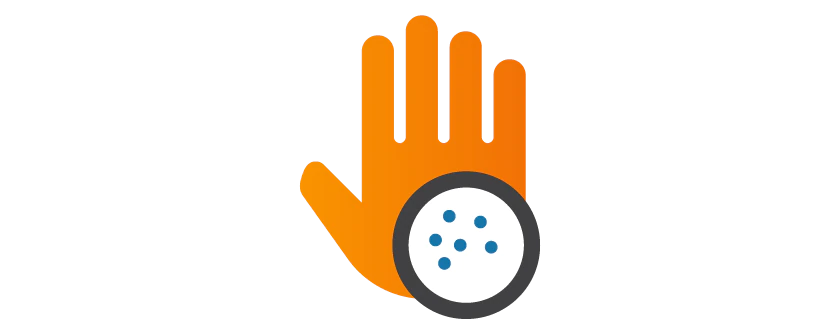 Icon of a hand indicating allergic reaction