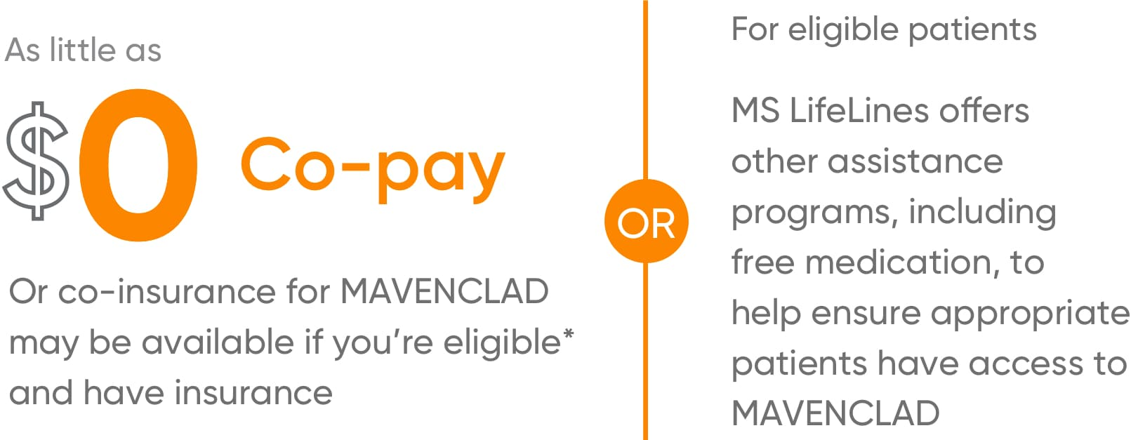 MAVENCLAD® co-pay can be as little as $0
